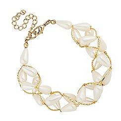 Mood - Cream pearl and bead wrap bracelet