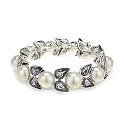 Mood - Pearl and grey crystal navette stretch bracelet