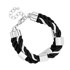Mood - Monochrome cord and metal bar bracelet
