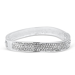 Mood - Crystal embellished silver wave bangle