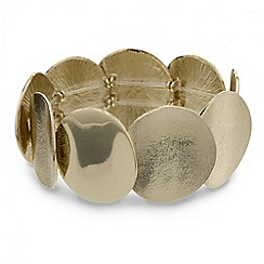 Mood - Polished and textured round disc stretch bracelet