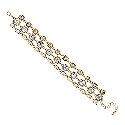 Mood - Pearl and crystal link triple row bracelet