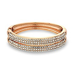 Mood - Crystal embellished rose gold hinged bangle