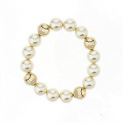 Mood - Polished gold bead and pearl stretch bracelet