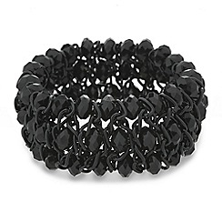 Mood - Jet bead triple row stretch bracelet