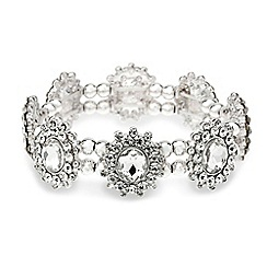 Mood - Oval stone diamante surround stretch bracelet