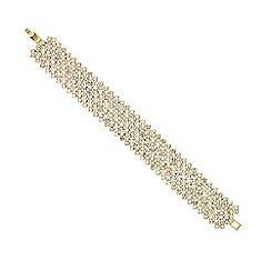 Mood - Diamante crystal gold criss cross bracelet