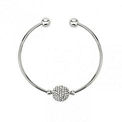 Mood - Crystal ball fine silver cuff bracelet