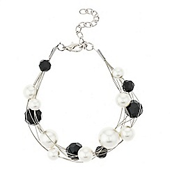 Mood - Jet bead and pearl cluster twist bracelet