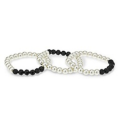 Mood - Set of three jet bead and pearl stretch bracelets