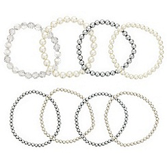 Mood - Set of eight pearl stretch bracelets