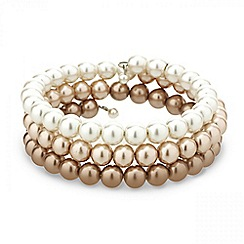 Mood - Tonal cream to gold pearl coil bracelet