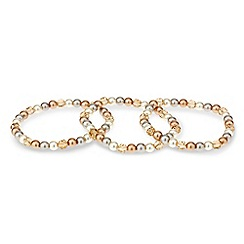 Mood - Tonal pearl and facet bead stretch bracelet set