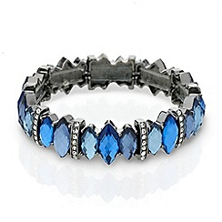 Mood - Blue tonal navette stone stretch bracelet