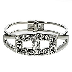 Mood - Polished silver and crystal bar hinged bangle
