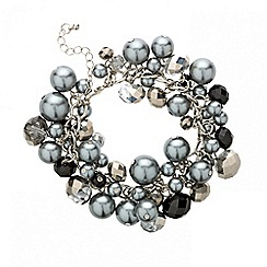 Mood - Grey pearl and mixed bead cluster bracelet