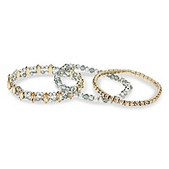 Mood - Set of three diamante and navette stretch bracelets