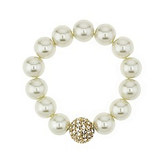 Mood - Crystal ball and pearl chain stretch bracelet