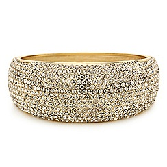 Mood - Crystal embellished gold hinged bangle