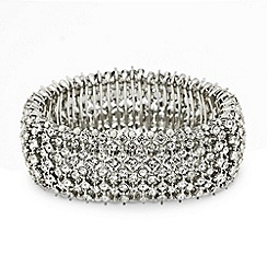 Mood - Crystal embellished silver bar stretch bracelet