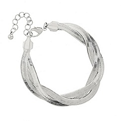 Mood - Plaited silver snake chain bracelet