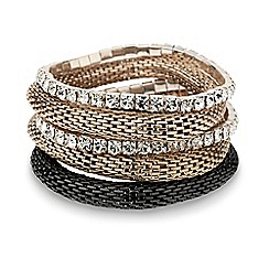 Mood - Diamante crystal and mesh stretch bracelet set