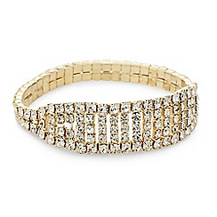 Mood - Diamante crystal gold stick stretch bracelet
