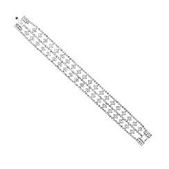 Mood - Diamante crystal triple row grid bracelet
