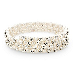 Mood - Diamante crystal and pearl coil bracelet