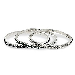 Mood - Set of three mixed diamante stretch bracelets