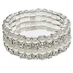 Mood - Pearl and crystal multi row stretch bracelet