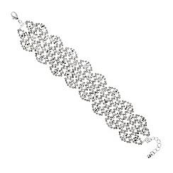 Mood - Diamante crystal silver navette lace effect bracelet