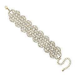 Mood - Diamante crystal gold navette lace effect bracelet