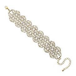 Mood - Diamante crystal gold navette lace effect bracelet