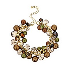 Mood - Brown tonal cluster bead bracelet