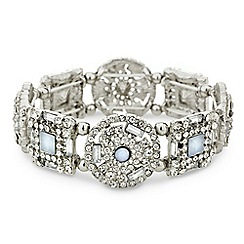 Mood - Blue crystal embellished round stretch bracelet