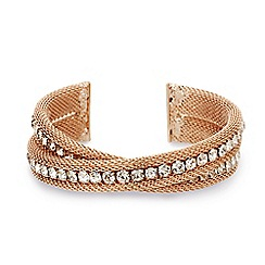 Mood - Diamante crystal rose gold mesh twist cuff