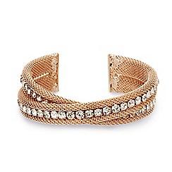 Mood - Diamante crystal rose gold mesh twist cuff