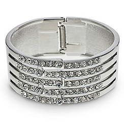 Mood - Crystal embellished silver panelled bangle