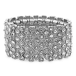 Mood - Crystal encased heart panelled stretch bracelet