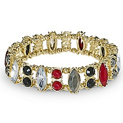 Mood - Red and jet navette stone stretch bracelet