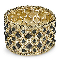 Mood - Black stone embellished lattice stretch bracelet