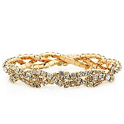 Mood - Diamante crystal gold twist stretch bracelet