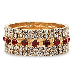 Mood - Red crystal and diamante surround stretch bracelet