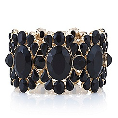 Mood - Jet oval and mixed stone surround stretch bracelet