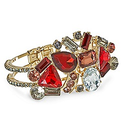 Mood - Red tonal stone set hinged bangle
