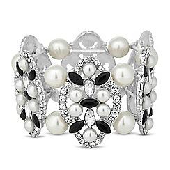 Mood - Monochrome and pearl link stretch bracelet