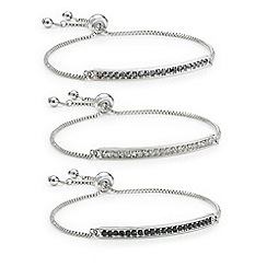 Mood - Set of three crystal bar toggle bracelets