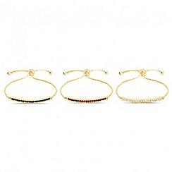 Mood - Set of three crystal bar toggle bracelets
