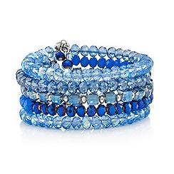 Mood - Tonal blue bead multi stone cuff bracelet